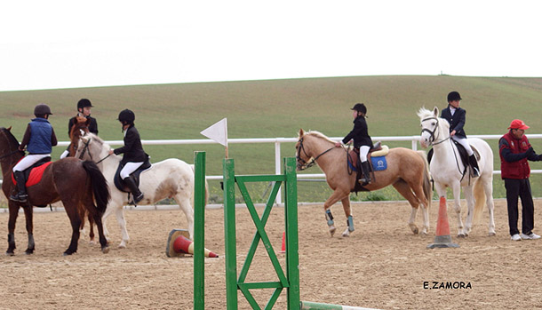 Un grupo de jóvenes participantes en el concurso de ponis.