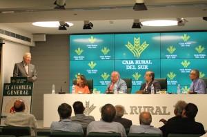 El presidente de la Caja Rural del Sur, José Luis García Palacios da unas palabras de agradecimiento tras recoger el diploma de Socio de Honor de la Asociación de Alta Escuela Española.